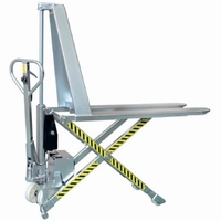 Semi-elektrische schaar palletwagen RVS